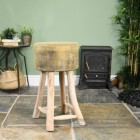 Vintage Style Wooden Stool In Living Room Setting