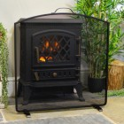 Black Fire Screen in Front of the Fire Place