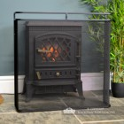 Black Railed Single Panel Fire Guard in Situ in Front of the Fire Place