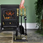 """""""Abbotsford"""" Traditional Companion Set in Black and Polished Brass to Scale"""