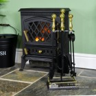 """""""Abbotsford"""" Traditional Companion Set in Black and Polished Brass in Situ"""