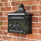 Wall mounted gloss black letter box with 2 keys