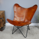 Vintage Design Leather Chair in Situ in the Living Room