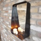 Side view of industrial shelf mirror