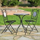'Moroccan Mosaic' Wrought Iron Garden Table & Two Chairs Set