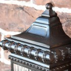 Close up of top finial and decorative trim