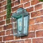 Verdigris Brass Wall Light in situ