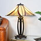 'Coltmoore' Dark Bronze Tiffany Lamp with Orange Glass Shade