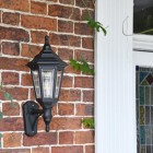 Traditional wall lantern mounted to wall