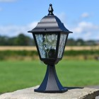 Traditional Leaded Glass Pillar Light in Situ Outside