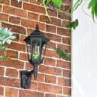 Large Bottom Fix Black Wall Lantern in Situ on Brick Wall