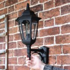 Large Bottom Fix Black Wall Lantern to Scale