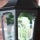 Flush-Fix Victorian Black Wall Lantern Clear Panes