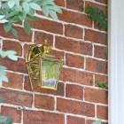 Polished Brass Top-Fix Lantern on Brick Wall