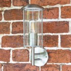 Contemporary Stainless Steel Wall Lantern on Brick Wall
