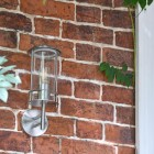 Contemporary Stainless Steel Wall Lantern on Brick Wall in Situ