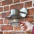 Contemporary Silver Overhanging Wall Lantern