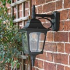 Traditional Sleek Black Top-Fix Wall Lantern