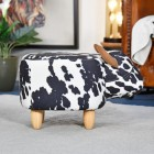 Side view of Black & White Cow Foot Stool