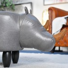 Side view of Ruby the Rhino complete with brown horns