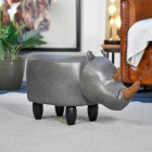 Ruby the Rhino Foot Stool in Living Room Setting