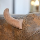 Brown Cow Foot Stool with Horn