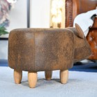 Rear view of Biscuit Brown Cow Foot Stool