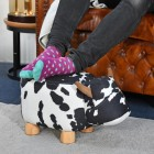 Daisy the Black & White Cow Foot Stool in use