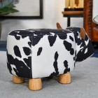 Rear view of Daisy the Black & White Cow in Living Room Setting