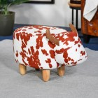 Brown & White Cow Foot Stool in Living Room Setting