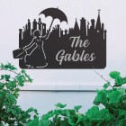 Mary Poppins Iron House Name Sign with Silver Vinyl