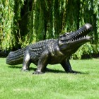 Black and Gold Crocodile Sculpture