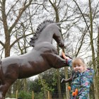 Rearing Horse Sculpture with child