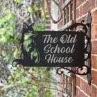 Sitting Fox Iron Bracket House Name Sign in situ on a Brick Wall