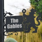 Lion & Staff Iron Bracketed House Name Sign in Situ