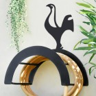 Wall Mounted Contemporary Cockerel Iron Hose Holder Finished in Black
