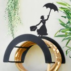 Wall Mounted Mary Poppins Iron Hose Holder Finished in Black