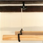 Cast iron & wood clothes airer suspended from pulleys