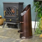 Copper Bronze Finish Coal hod in Situ Next to the Fireplace