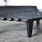 Close up of legs on curved fire grate
