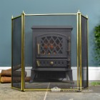 Front View of the Traditional Polished Brass Three Fold Fire Guard