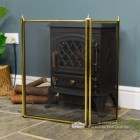 Traditional Three Fold Fireguard Finished in Polished Brass