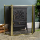 Traditional Polished Brass Three Fold Fire Guard in Situ Next to the fire