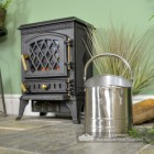 Modern Pewter Coal Hod in Situ Next to the Fire Place