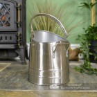 Pewter coal Hod with Top Carry Handle