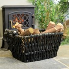Dove Grey Wicker Log Basket in Situ by the Fireplace Holding Logs