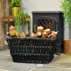 Wicker Log Basket Finished in a Dove Grey