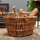 Aged Wicker log basket with metal handles