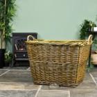 Natural Finish Wicker Log Basket