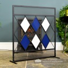 Contemporary Firescreen with Blue & White Diamond Design